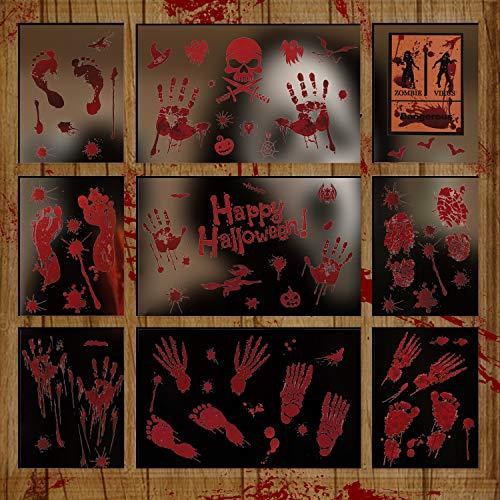 LessMo Halloween Fenster Sticker, 10 Stück Halloween Fenster Aufkleber, Schaurig Blutige Realistischer Hand FußAbdruck Fensterbilder für Halloween Tür Party Haus Spiegel Garten Fenster Deko