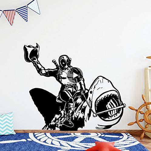 Schöne Deadpool Wandaufkleber Selbstklebende Kunst Tapete Für Kinderzimmer Dekoration Vinyl Kunst Aufkleber Schlafzimmer Wandbild 57 * 66