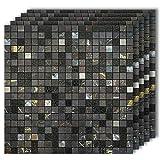 HomeyMosaic Peel and Stick Tile Backsplash for Kitchen,12'x12' Aluminum Surface 3D Wall Sticker...