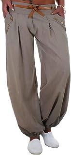 Gocgt Women's Solid High Waist Sport Harem Pants Trousers with Belts 2 Small