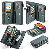 Photo de PULLEY-C Étui portefeuille pour téléphone portable, 15 emplacements pour cartes de crédit et 3 poches porte-monnaie, rétro givré avec fermeture éclair pour iPhone 12 Max (couleur : bleu) par