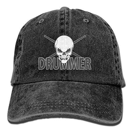 Hoswee Unisex Kappe/Baseballkappe, Skull Drumsticks Drummer Denim Hat Adjustable Mens Stretch Baseball Cap