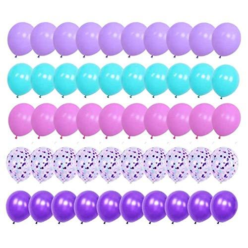 Finypa globos de sirena 50 unidades, 12 pulgadas, globos de látex azul oscuro con globo de confeti para decoración de fiesta de unicornio, suministros de fiesta de cumpleaños con cinta. Mermaid (