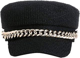 Estilo Navy Pico Gorra de Poliéster Gorro Vintage Gorra Moda Sombreros (Negro)