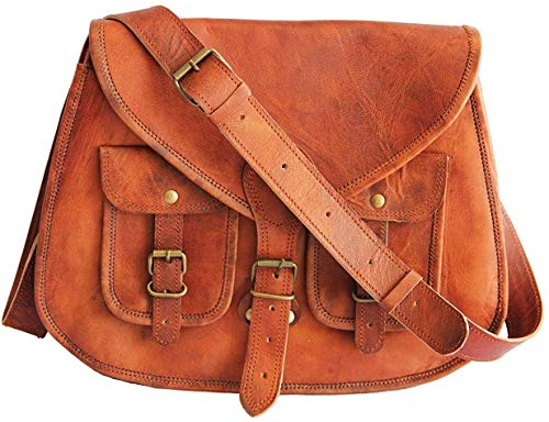 HLC 14 Inches Rugged- Chic Distressed Leather Women Sling Bag