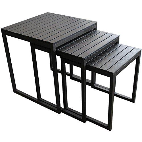 Wohaga 3er Set Aluminium Beistelltisch-Set 45x45x50cm - Schwarz