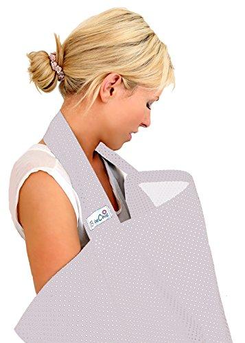 BebeChic * Gran calidad 100% algodón * cubiertas de lactancia * Enfermería deshuesada Tops–con bolsa de almacenamiento–Plata gris/blanco Dot