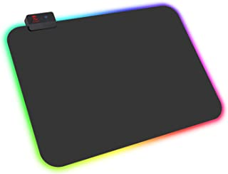 Mouse Pad ROSONWAY RGB Gaming Mouse Mat with 14 Groups Lighting Modes Memory Function 2 Brightness Levels (13.8 x 9.8 in) …