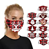 WARTT 10PC Washable/Reusable Christmas Adult Masks, Face Cover,Face Shield,Adult Outdoor Protect Mouth Nose Cover Christmas Print Mouth Masks for Protection Face Mask Washable Earloop Mask (D0)