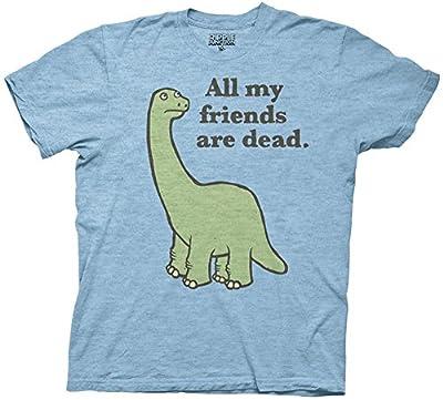 All My Friends Are Dead Dinosaur Men's T-shirt (Medium, Light Blue) from