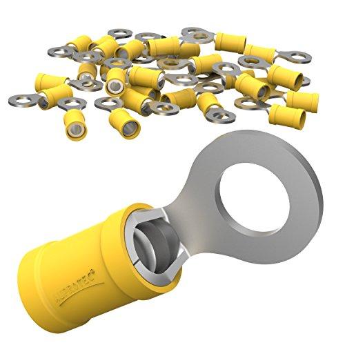 AUPROTEC 25x Ringkabelschuhe 4,0 - 6,0 mm² gelb Loch-Ø M8 Teillisoliert PVC RV Kabel-Verbinder aus Kupfer verzinnt