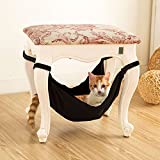 Seaskyer Pet Hammock Cat Warm Soft Hanging Bed, Cushion Cat Puppy Mat Hamster or Other Pet House Cage, Use with Chair for Kitten (Black)