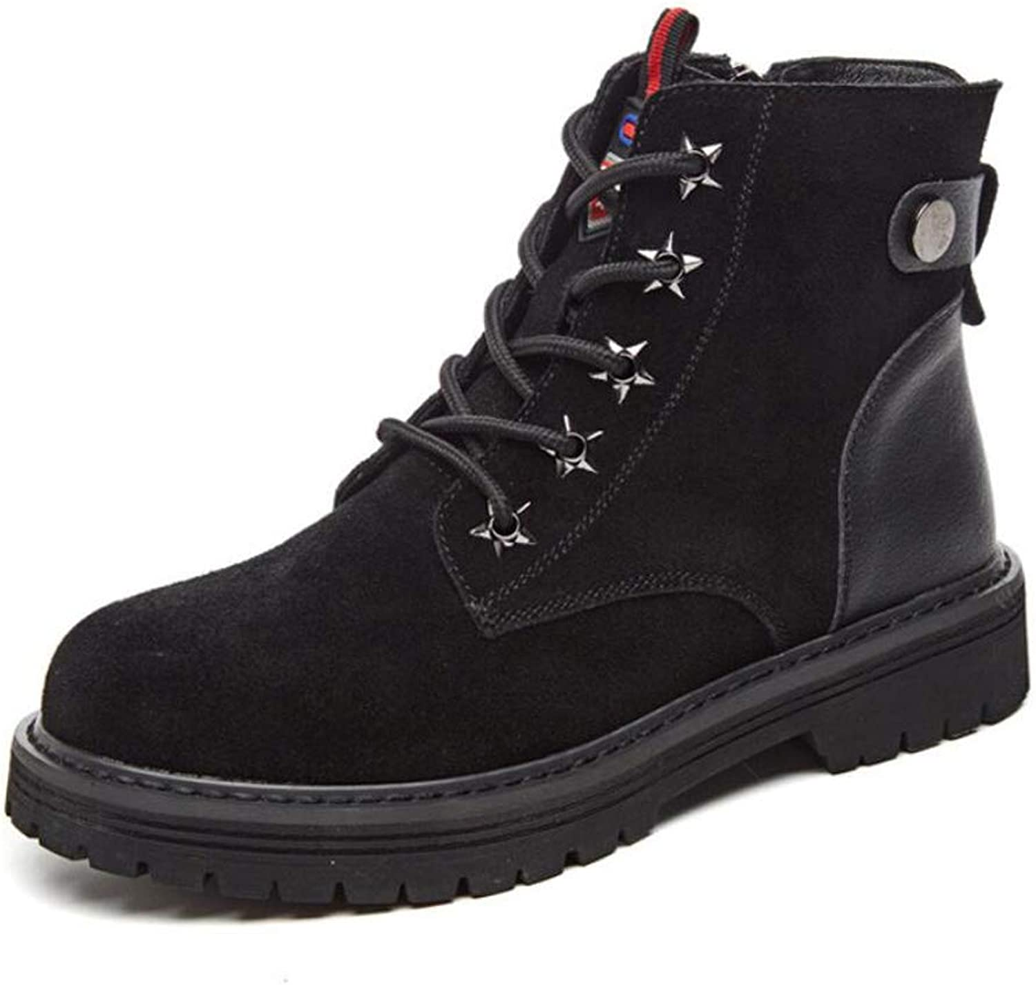 Women's Boots British Style Frosted Flat Heel Martin Boots Booties