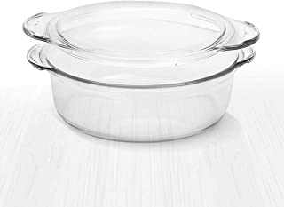 Clear Round Glass Casserole by Simax | Deep Dish, With Lid, Heat, Cold and Shock Proof, Microwave, Oven, Freezer, and Dish...