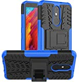 Yiakeng Compatible for LG Aristo 4+ Plus Case, LG Prime 2/LG Tribute Royal/Escape Plus/LG Journey LTE Cover, Shockproof Slim Protective with Kickstand Hard Phone Cover (Blue)