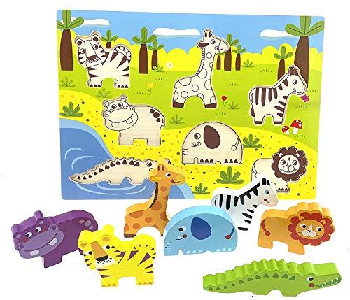 RB&G Holzpuzzle mit großen Teilen - Safaritiere Puzzle für Kinder ab 1 Jahr Nilpferd & Co. Puzzle Baby