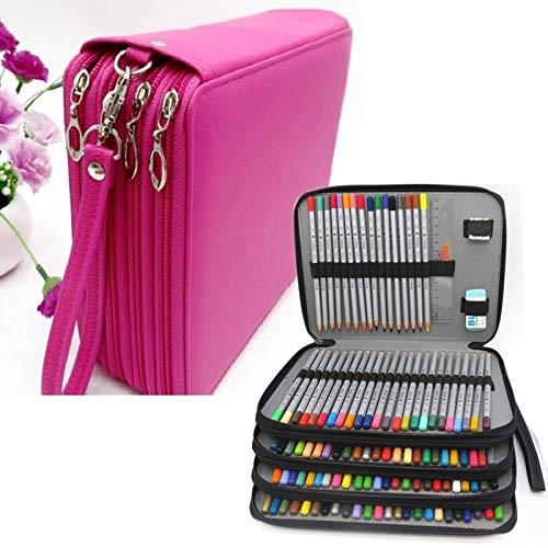 Hmg Cuero de la PU Caja de lápiz de la Escuela de 184 Agujeros de Gran Capacidad de Color pencilcase Arte lápiz Bolsa Caja Multi-Funcional Fuentes del Regalo (Negro) (Color : Rose Red)
