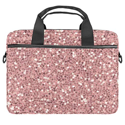 13-14.5 Inch Laptop Sleeve Case Rose Gold Sequins Pattern Protective Cover Bag Portable Computer Notebook Carrying Case Briefcase Message Bag