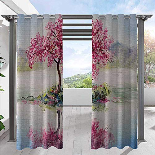 Adorise Print Outdoor Curtains Image of Blooming Japanese Cherry Tree Sakura on The Lake Soft Romantic Culture Work Blackout Privacy Curtain Durable, Water-Resistant, Opaque Multi W72 x L84 Inch