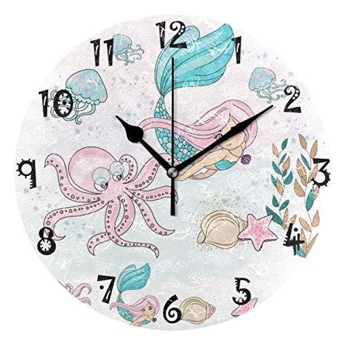 LDIYEU Mar Sirena Pulpo Rosa Reloj de Pared Silencioso Decorativo Madera Vintage Relojs para Niños Niñas Cocina Dormitorio Hogar Oficina Escuela Decoración