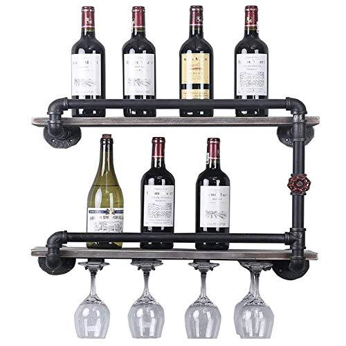 Montaje de vino de pared de esquina de tubería industrial, estante de pared de estantes de madera, soporte de botellas de soporte de metal, organizador de barra, hogar y cocina D & eacute; cor Good