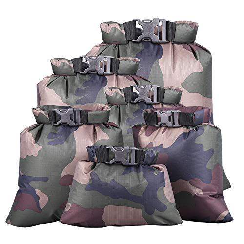 kuou 6pcs Waterproof Dry Sack, Dry Bags Waterproof Bag Lightweight Dry Bag Snorkeling Bag Drifting Bag Army Green (1.5L+2.5L+3L+3.5L+5L+8L)