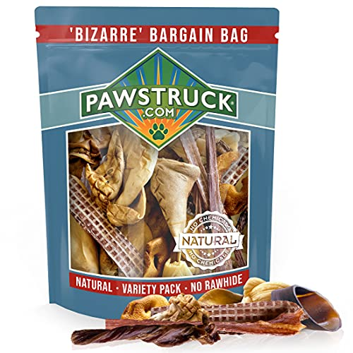 Bizarre Bargain Bag, 1 lb. Assorted Natural Dog Treats, Long Lasting Chews for All Breeds, Animal Ears, Bones & Jerkies for Pups and Senior Dogs, Rawhide Alternative for Aggressive Chewers