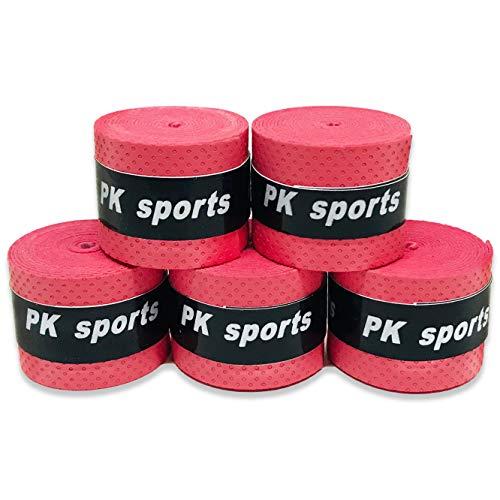 グリップテープ 5個セット (5色セット・黒・赤・青・紫・黄・など各色セットあり) ドライ多孔 オーバーグリップ テニス バドミントン 他 (レッド)