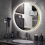 AUPERTO Espejo de baño redondo de 60 cm, LED, con reloj digital, luz LED, interruptor táctil