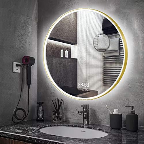 AUPERTO 60CM Runder Bad Spiegel - LED Badezimmerspiegel mit Digitale Uhr, LED Licht, Touch Schalter