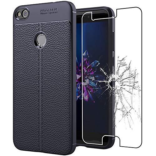 """ebestStar - Funda Compatible con Huawei P8 Lite (2017) Carcasa Silicona Gel, Protección Diseño Cuero Ultra Slim Case, Azul Oscuro + Cristal Templado Protector [Aparato: 147.2x72.9x7.6mm 5.2""""]"""
