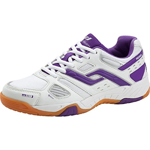 Pro Touch Damen Indoor-Schuh Rebel, Damen Multisport Indoor Schuhe, Weiß (Weiß/Purple 000), 41 EU (7.5 UK)