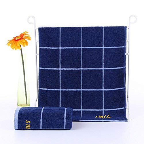 Eastery Badetuch Handtuch Nano Superabsorber Trocken Dicke Aktive Druck Nicht Verblassen Einfacher Stil Dauerhaft Erwachsene Jacquard Bestickt Baumwolle Hoteltuch (35 * 75 Zoll) Gesicht Blue