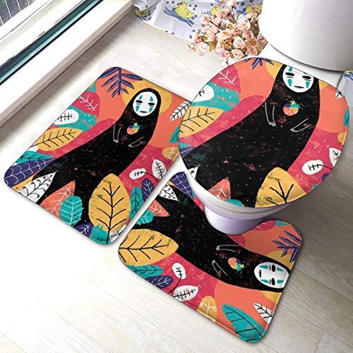 W40cm x L60cm 3 Piezas Alfombra De Ducha Almohadilla Dibujos Animados Spirited Away No Face Man Absorbentes Protector Antideslizante Franela Estera Alfombrillas de baño
