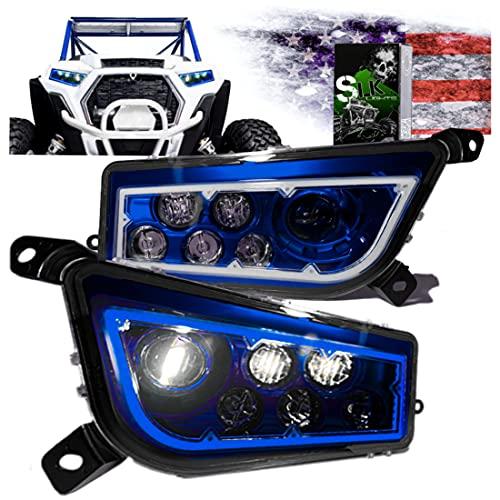SLK-Customs us RZR LED Headlight Compatible with Polaris General, Polaris RZR 900s, Polaris Razor 1000 XP Turbo (Fits: 2015-2019) (Blue Halo)