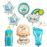 Juland Pack de 9 Globos de aluminio azul recién nacidos Kit de globos XL Mylar...