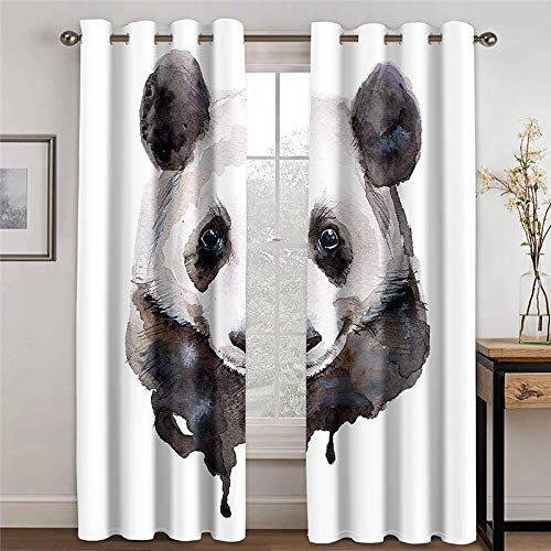 ZXDYLY Blackout Curtain 2 Panels Set Panda Soft Solid Thermal Insulated Ring Top Decorative Darkening Curtain with Grommets for Living Room Bedroom Nursery Room Full Size W66xh54 Inch