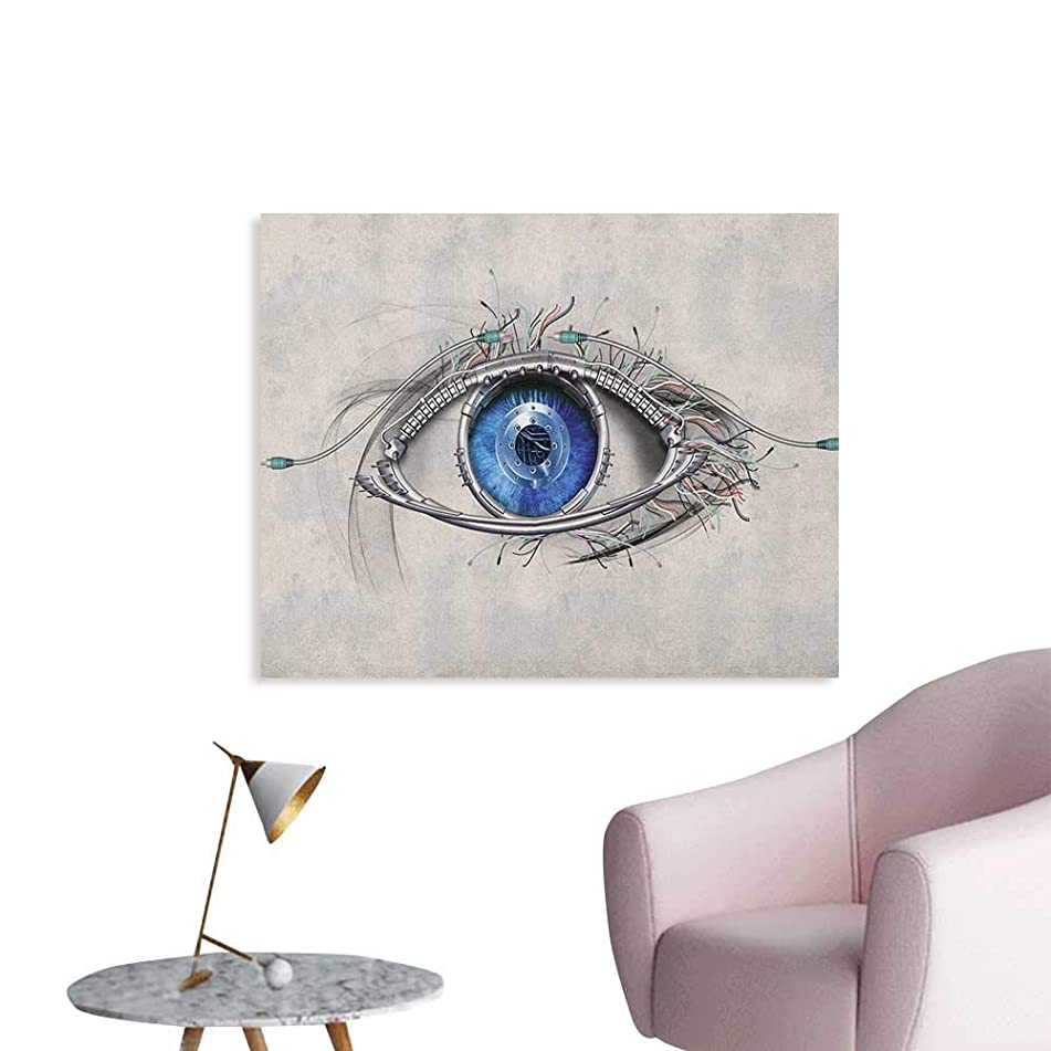 Anzhutwelve Eye Wall Paper Futuristic Style a Mechanic Sight in Direct Eye Contact Science and Engineering The Office Poster Beige Navy Blue W48 xL32