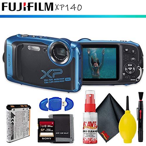 FUJIFILM FinePix XP140 Digital Camera (Sky Blue) + Memory Card Kit + Cleaning Kit