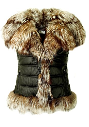 DX-Exclusive wear Damen Lederweste,Pelzweste/Gilet, mit Fuchs-Pelz Weste/KK-0011 (32)