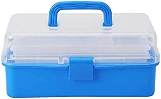 Transparent Folded Tool Box Work-box Foldable Toolbox Medicine Cabinet Manicure Kit Work In For Storage (Color : Blue)