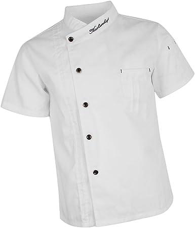 Baoblaze Chaqueta de Chef Unisex Capa Camisa Mangas Cortas Cocina Ejecutivo Camarero Mangas Corta Atavío Camiseta de Cocinero