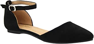 Womens Faux Leather D'Orsay Pointed Toe Flats