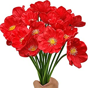 Aisamco 20pcs Artificial Poppies Faux PU Flowers Wedding Bouquet 13″ in Height for Home Kitchen Dining Table Centerpieces Wedding Decoration
