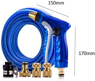 HIZLJJ Garden Hose Nozzle 100% Heavy Duty Metal, Full Brass Nozzle & ABS Non-Slip Ergonomic Grip, 4 Watering Patterns, High Pressure Metal Spray Gun for Watering Plants,Car Wash and Showering Dog