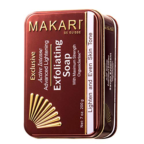Makari Exclusive 7oz. Skin Lightening & Exfoliating Bar Soap with Organiclarine – Advanced Active Intense Whitening Treatment for Dark Spots, Scars, Sun Patches, Stretch Marks & Hyperpigmentation