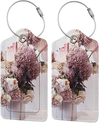 Bunte Kätzchen-Etiketten mit schönem Blumenmotiv, PU-Leder, Koffer-Etiketten, mit Sichtschutz auf der Rückseite, mit Stahlschlaufen