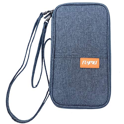 FLYMEI Travel Wallet Passport Holder, Family Passport Holder with Hand & Neck Strap Travel Wallet Organizer RFID Blocking Document Organizer Bag Ticket Holder for Women/Men