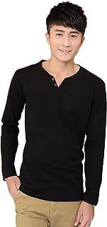 [ドルチェ ルッチ] ヘンリーネック カットソー 無地 長袖 ロンT ボタン Vネック Tシャツ シンプル トップス M ~ 3XL メンズ