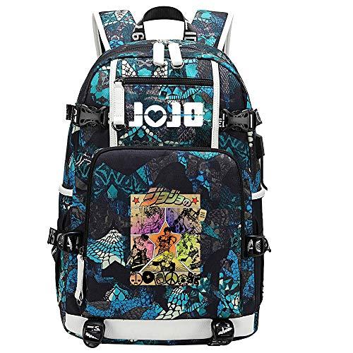 GOYING JoJo's Bizarre Adventure Jonathan Joestar/Joseph·Joestar Anime Backpack Middle Student School Rucksack Daypack for Women/Men with USB-D